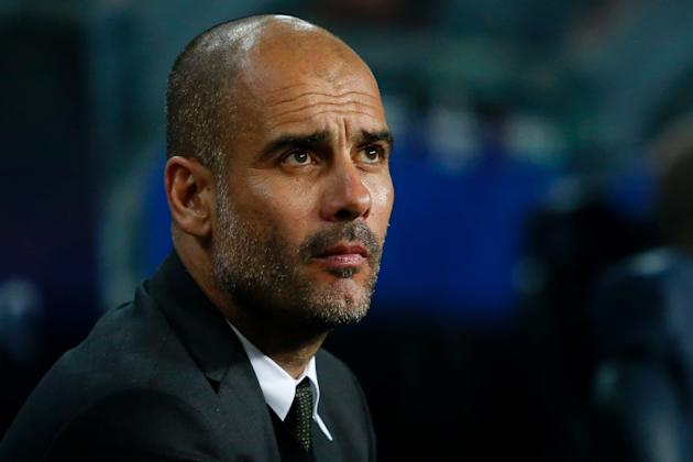 Manchester City manager Pep Guardiola looks on before the Champions League match against Barcelona on October 19, 2016