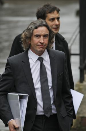 British actor Steve Coogan arrives to testify at the Leveson inquiry at the Royal Courts of Justice in central London, Tuesday, Nov. 22, 2011. The Leveson inquiry is Britain's media ethics probe that was set up in the wake of the scandal over phone hacking at Rupert Murdoch's News of the World, which was shut in July. (AP Photo/Lefteris Pitarakis)