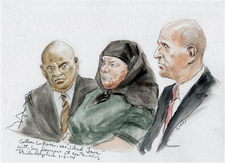 Colleen LaRose (C) and her attorney Mark Wilson (R) are shown in this courtroom sketch during her sentencing hearing in Philadelphia, Pennsylvania January 6, 2014. LaRose, who calls herself Jihad Jane, was sentenced to 10 years in prison Monday for a failed al Qaeda-linked plot to kill a Swedish artist who had depicted the head of the Muslim Prophet Mohammad on a dog. The man on the left is unidentified. REUTERS/Art Lien