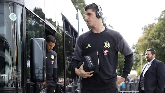 Chelsea's Thibaut Courtois arrives at the stadium