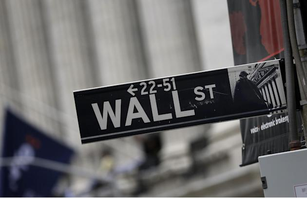 FILE - This Oct. 2, 2014 photo shows a Wall Street sign adjacent to the New York Stock Exchange, in New York.   U.S. stocks are wavering in early trading more big companies turn in earnings reports. M