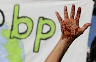 A protestor at an anti-BP rally in Berkeley, California in May 2010. Three years after a deadly explosion on a BP-leased drilling rig unleashed the worst environmental disaster in US history, the British energy giant is fighting to avoid billions in fines