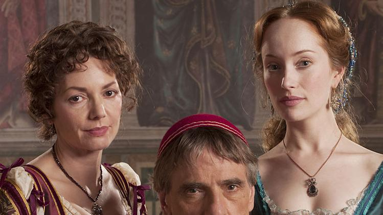 "Joanne Whalley as Vanozza dei Cattanei, Jeremy Irons as Rodrigo Borgia, and Lotte Verbeek as Guilia Farnese in ""The Borgias."""