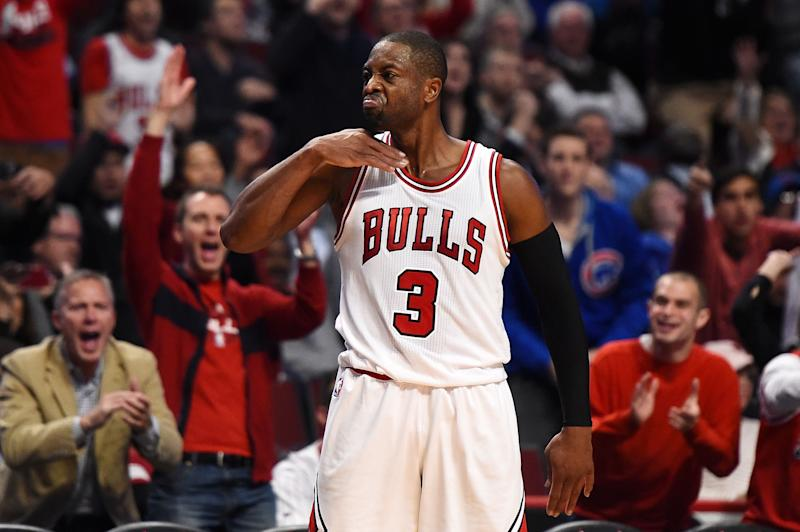 Dwyane Wade reacts after hitting the clinching shot to win his Bulls debut. (Getty)