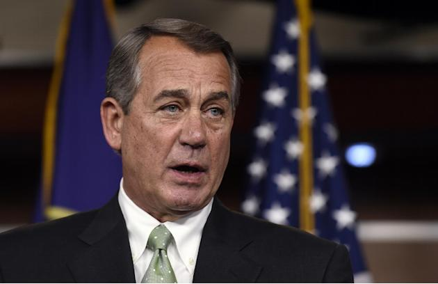 FILE - In this Mat 21, 2015 file photo, House Speaker John Boehner of Ohio speaks during a news conference on Capitol Hill. Obama administration attorneys urged a federal judge Thursday to throw out a