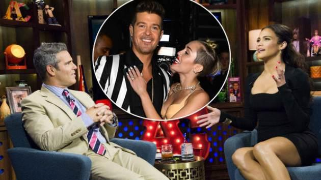 Andy Cohen and Paula Patton on 'Watch What Happens Live' / inset: Robin Thicke and Miley Cyrus -- Bravo