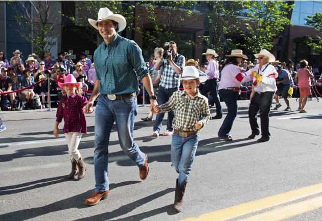 Liberal Leader Trudeau Walks With His Children During The