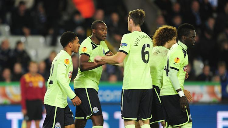 Shola Ameobi, second left, grabbed the equaliser for Newcastle