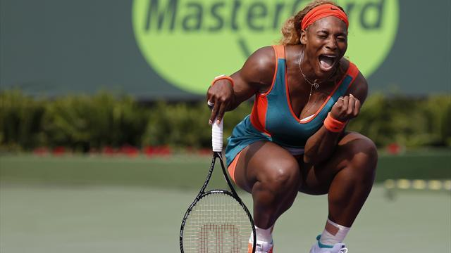 Tennis - Serena survives tough battle to move on in Miami