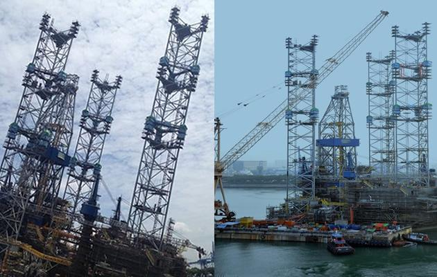 The Jurong rig which injured 89 has been restored upright
