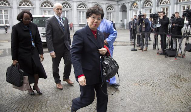 China's Margaret Chan, Director General of the World Health Organization, center, arrives for a conference on Ebola at the Egmont Palace in Brussels on Tuesday, March 3, 2015. Liberia's president