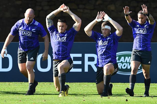 (From L) New Zealand's Ben Franks, Sonny Bill Williams, Wyatt Crockett and Aaron Smith attend a training session in Cardiff, south Wales, on September 30, 2015, during the Rugby World Cup