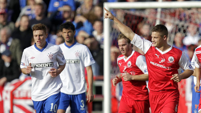 Stirling Albion's Brian Allison (right) celebrates scoring against Rangers