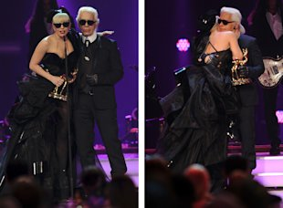 Lady Gaga receives the Pop International award from Karl Lagerfeld during the Bambi Award 2011