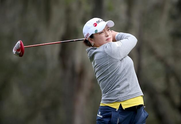 Ha Na Jang of South Korea plays a shot on the 18th hole during the continuation of the third round of the Coates Golf Championship on February 6, 2016 in Ocala, Florida