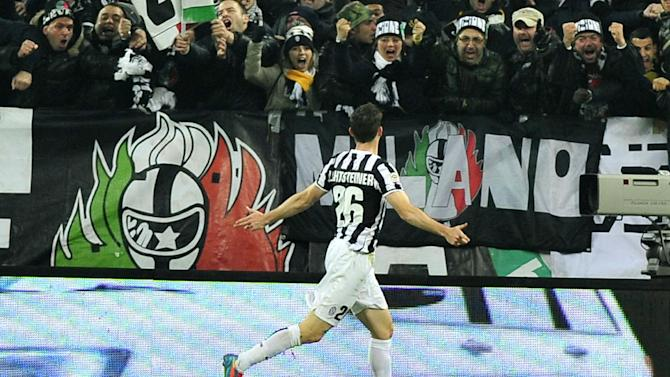 Juventus defender Stephan Lichtsteiner, of Switzerland, celebrates after scoring during a Serie A soccer match between Juventus and Inter Milan at the Juventus stadium, in Turin, Italy, Sunday, Feb. 2, 2014