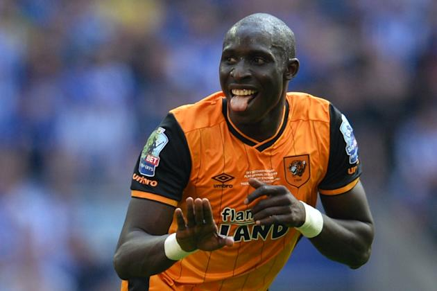 Hull City's Mohamed Diame celebrates scoring the opening goal during the English Championship play-off final against Sheffield Wednesday, at Wembley Stadium in London on May 28, 2016