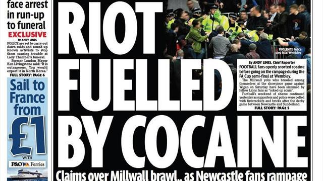 FA Cup - Paper Round: Millwall fans 'took cocaine in front of kids'