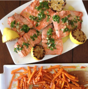 Grilled Salmon With Carrots + Ginger