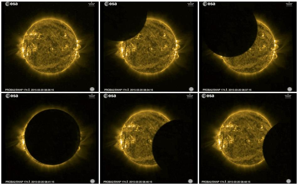 A combination photo shows the various stages solar eclipse as viewed by ESA's Sun-watching Proba-2 minisatellite using it's SWAP imager