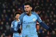 Manchester City's striker Sergio Aguero celebrates after scoring their second goal during the English Premier League football match between Bournemouth and Manchester City at the Vitality Stadium in Bournemouth, southern England on February 13, 2017