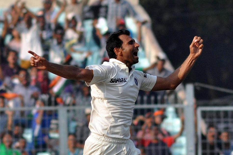 Indian bowler Mohammed Shami celebrates after taking a wicket during the 3rd day of the 1st test match between India and West Indies at Eden Gardens, Kolkata on Nov. 8, 2013. (Photo: IANS)