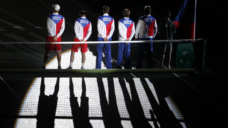 Members of Czech team arrive before their Davis Cup doubles final match in Prague