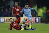 Britain Football Soccer - AFC Bournemouth v Manchester City - Premier League - Vitality Stadium - 13/2/17 Manchester City's Sergio Aguero in action with Bournemouth's Adam Smith Action Images via Reuters / Matthew Childs