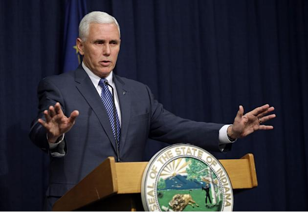 Indiana Gov. Mike Pence holds a news conference at the Statehouse in Indianapolis, Thursday, March 26, 2015. Pence has declared a public health emergency in response to the HIV epidemic in Scott Count