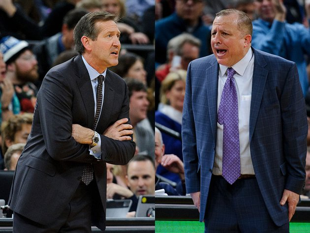 Jeff Hornacek and Tom Thibodeau let loose. (Getty Images)