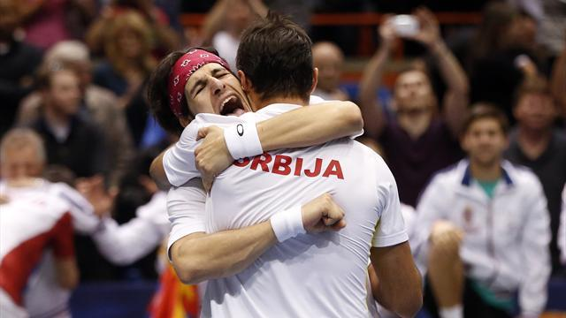 Davis Cup - Serbia shock Bryans in United States to take lead