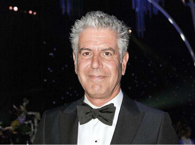 FILE - This Sept. 15, 2013 file photo shows Anthony Bourdain at the 2013 Primetime Creative Arts Emmy Awards Governors Ball in Los Angeles. Bourdain, Ina Garten, and Martha Stewart remain the names to