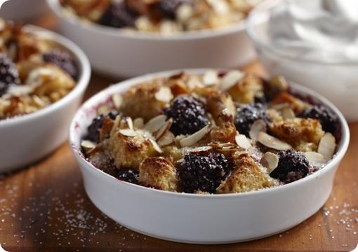 Blackberry Almond Bread Pudding