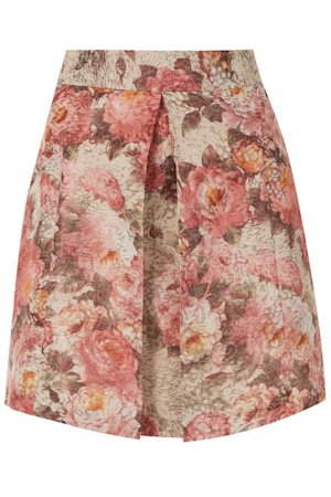 Topshop Floral Pleat Front A-Line Skirt