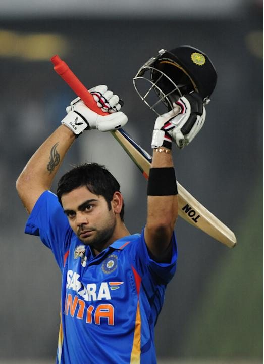 Indian batsman Virat Kholi gestures as h