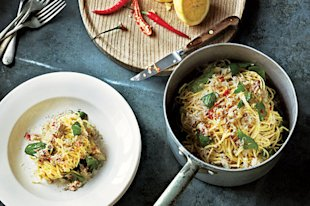 Crab Linguine with Basil, Lemon, and Chile Recipe