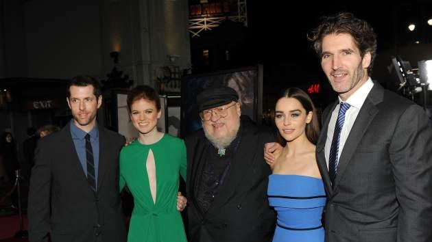 Creator/Executive Producer D.B Weiss, actress Rose Leslie, Co-Executive Producer and writer George R. R. Martin, actress Emilia Clarke, and Creator/Executive Producer David Benioff arrive at the premiere of HBO's 'Game Of Thrones' Season 3 at TCL Chinese Theatre on March 18, 2013 in Hollywood -- Getty Images