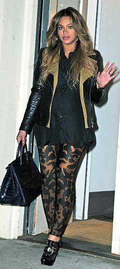 Pregnant Beyonce Steps Out in Animal-Print Leggings