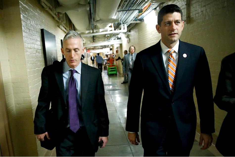 Gowdy and Ryan arrive for a Republican caucus meeting at the U.S. Capitol in Washington