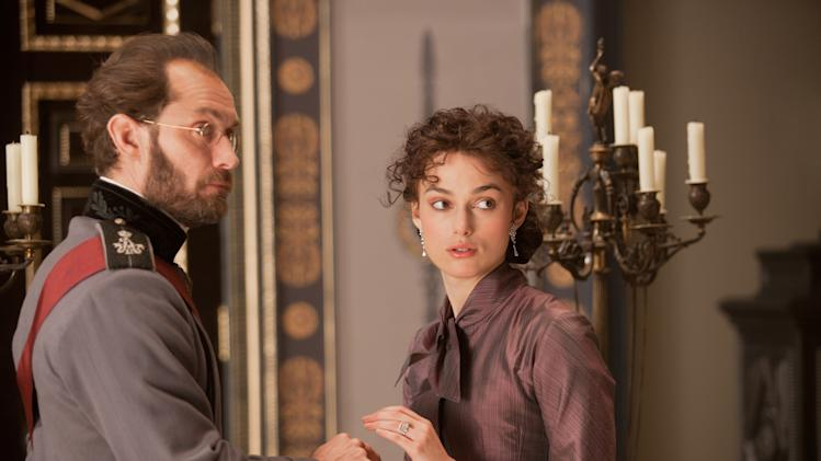 Jude Law (L) stars as Alexei Karenin and Keira Knightley (R) stars as Anna in Joe Wright...s ANNA KARENINA, a Focus Features release.