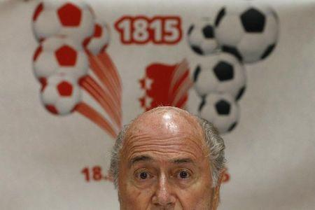 "Blatter addresses a news conference aside of the so-called ""Sepp Blatter tournament"" in Ulrichen"