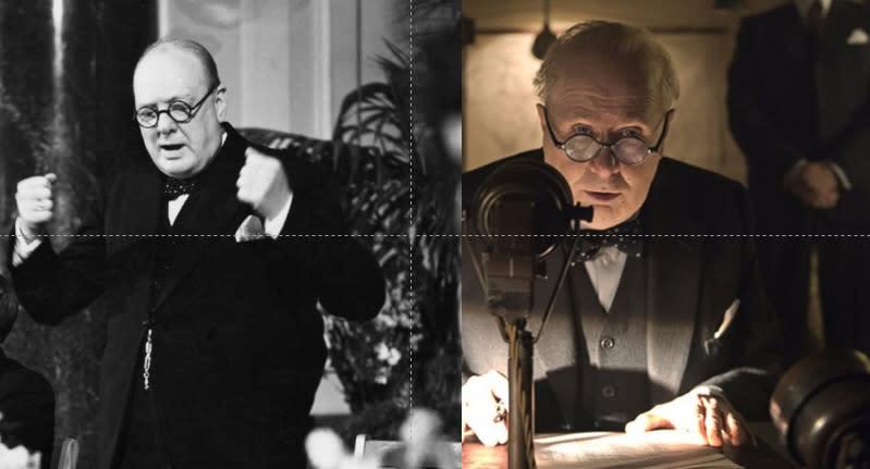 四、蓋瑞歐德曼(右)飾演邱吉爾(左):飾演名人似乎已成為奧斯卡的勝利方程式,而五十九歲的蓋瑞歐德曼也以《最黑暗的時刻》奪下了演員生涯中的第一座小金人。他在片中飾演前英國首相邱吉爾,身型清瘦的他不僅透過特殊化妝打造出與本尊極其相似的五官臉龐,更在說話語調中展現了自己揣摩邱吉爾所下的功夫,也讓蓋瑞歐德曼一舉橫掃英美影壇,接連摘下三座影帝大獎。(圖:左.YouTube、右.Yahoo電影)