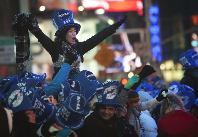 Revelers celebrate during New Year's Eve celebrations in Times Square. (Reuters)