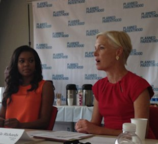Activist and actor Gabrielle Union and Planned Parenthood president Cecile Richards speaking at Planned Parenthood's NYC headquarters on August 20, 2012.