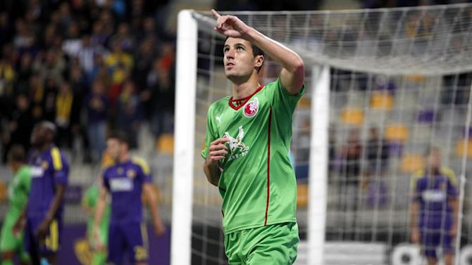 Rubin Kazan's Ivan Marcano celebrates his goal against Maribor, during their group D Europa League soccer match, in Maribor, Slovenia, Thursday, Sept. 19, 2013