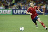 "Spanish midfielder Andres Iniesta controls the ball during the Euro 2012 football championships final match Spain vs Italy at the Olympic Stadium in Kiev. 'The Greatest' Muhammad Ali once said he ""floats like a butterfly and stings like a bee"" and now he seems to have found a worthy successor, although not in the ring"