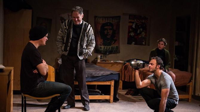 "This undated theater image released by DARR Publicity shows, from left,  Nick Lawson, Michael Cullen, James Kautz and Anna Stromberg, in a scene from ""Collision"" performing off-Broadway at the Rattlestick Playwrights Theater in New York. (AP photo/DARR Publicity, Russ Rowland)"