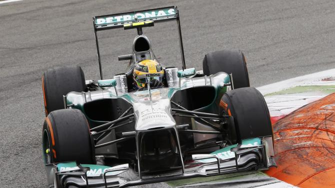 Mercedes Formula One driver Hamilton drives during the Italian F1 Grand Prix at the Monza circuit