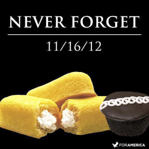"""This undated image shows """"Never Forget,'' one of the most recent of dozens of pieces of art Nancy Peppin has created over the years using Twinkies and other Hostess products. A graphic artist by day for slot machine-maker International Game Technology, Peppin doesn't like to eat Twinkies. She uses them to depict popular culture similar to Any Warhol. (AP Photo/Courtesy Nancy Peppin)"""