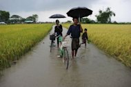 Muslim Rohingyas make their way through a flooded field to an Internally Displaced Persons camp on the outskirts of Sittwe. Seething resentment between Buddhists and Muslims erupted this week in a wave of fresh unrest in Rakhine state, prompting international warnings the unrest imperils the nation's nascent reform process.